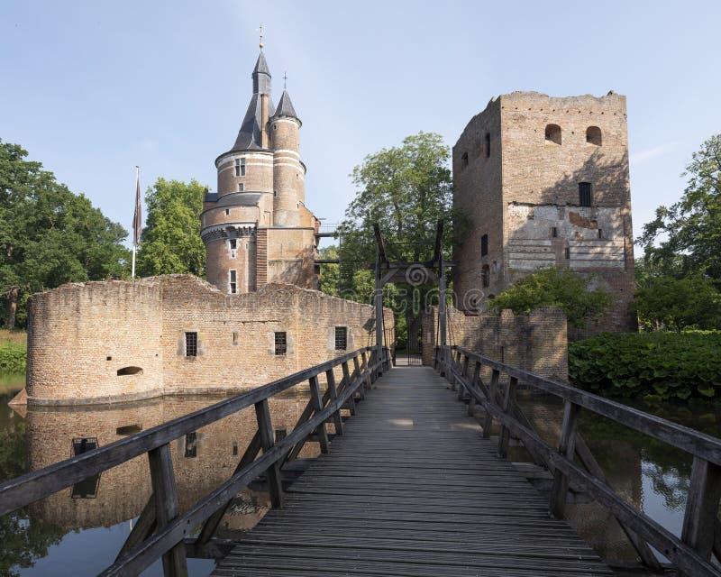 Castle and ruin in dutch town of wijk bij duurstede in province of utrecht royalty free stock photo