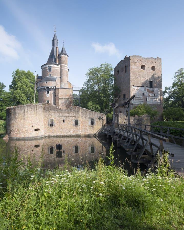 Castle and ruin in dutch town of wijk bij duurstede in province of utrecht stock photo