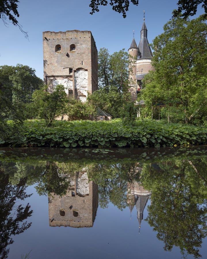 Castle and ruin in dutch town of wijk bij duurstede in province of utrecht stock image