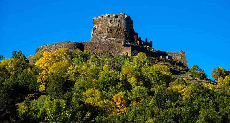 The castle ruin Murol in the Auvergne. The medieval castle ruin of Murol in the Auvergne region in France stock photos