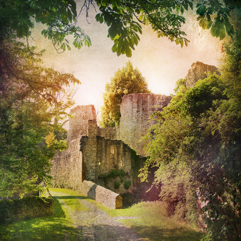 Castle ruin. Shabby Chic Background with castle ruin royalty free stock photos