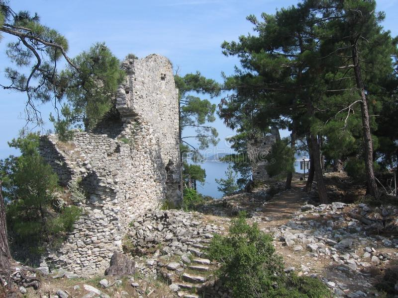 Castle ruin in Thassos. In the hills on the island Thassos you will find a ruin of an old castl near the city Thassos stock photos