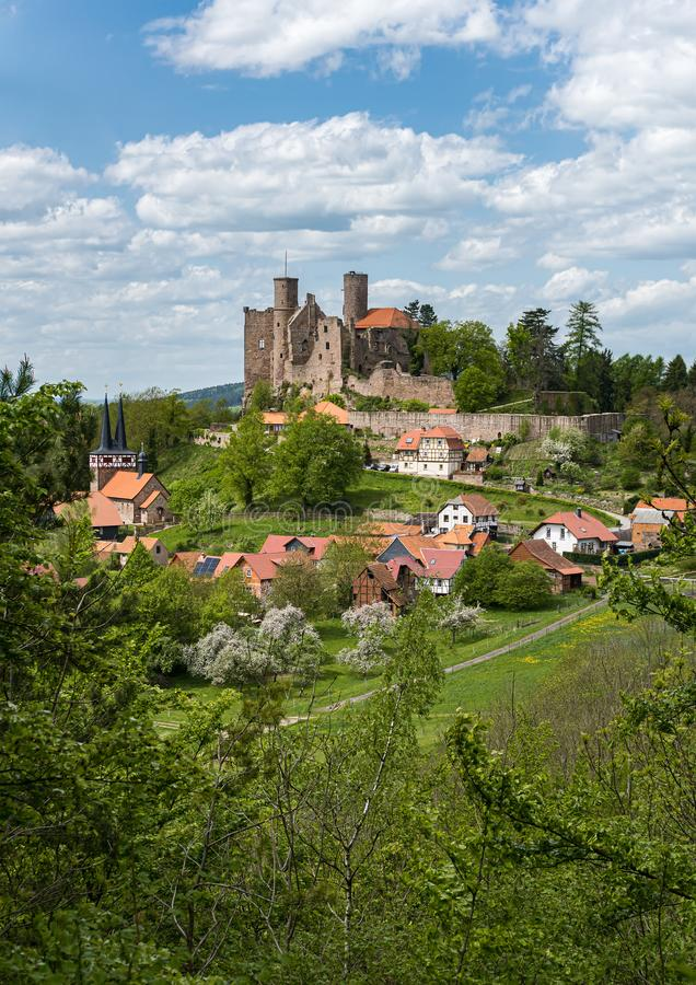 Castle ruin on top of a hill. Medieval castle royalty free stock image