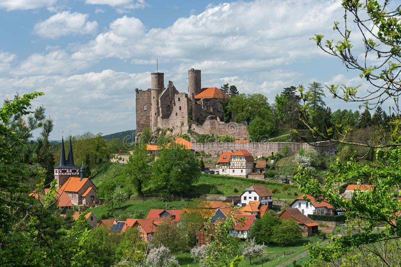 Castle ruin on top of a hill. Medieval castle stock photos