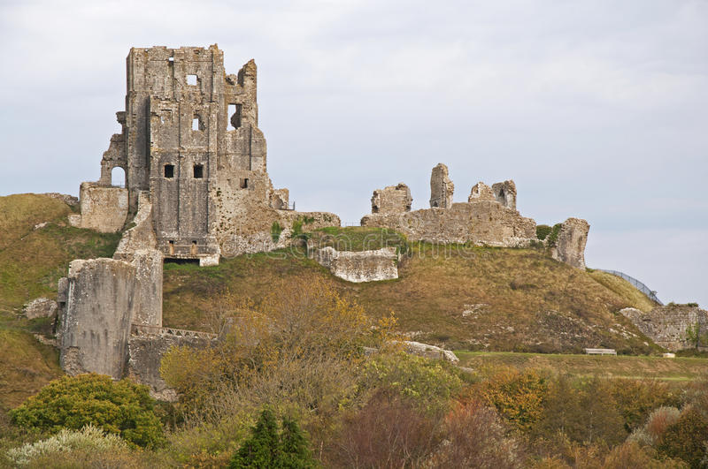 Castle Ruins at Corfe stock photo