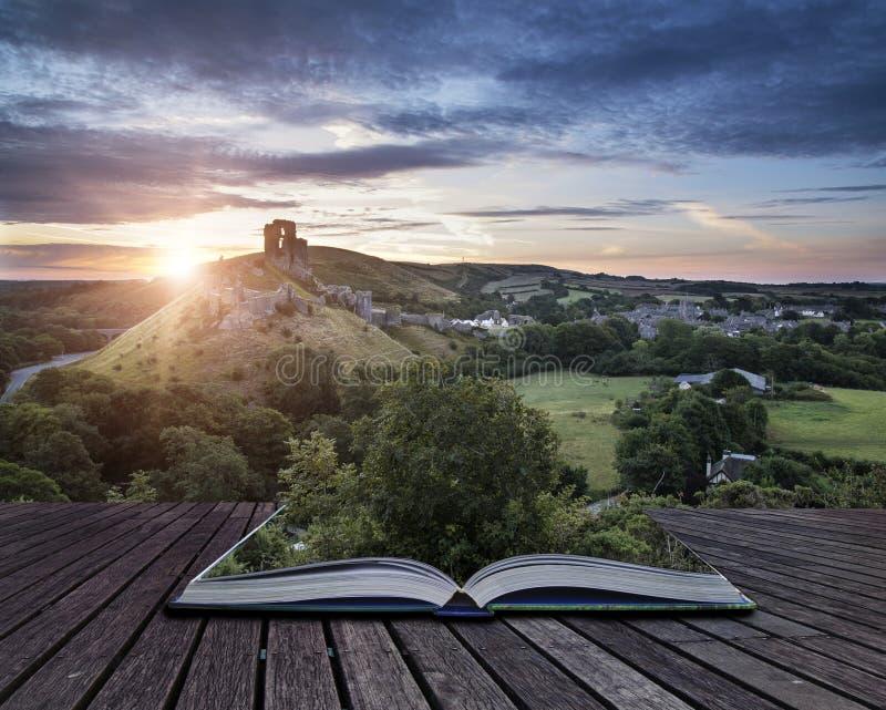 Castle ruins landscape at sunrise with inspirational sunburst be royalty free stock image