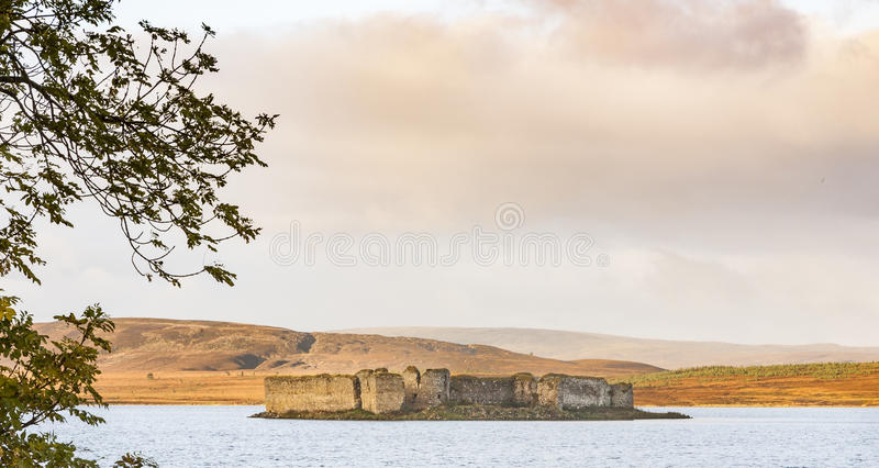 Castle ruins on Lochindorb in Scotland. royalty free stock images