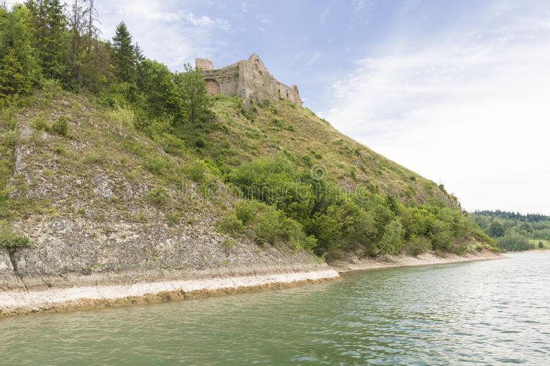 Castle ruins. Ruins of medieval castle on Dunajec River. Castle Czorsztyn royalty free stock photo