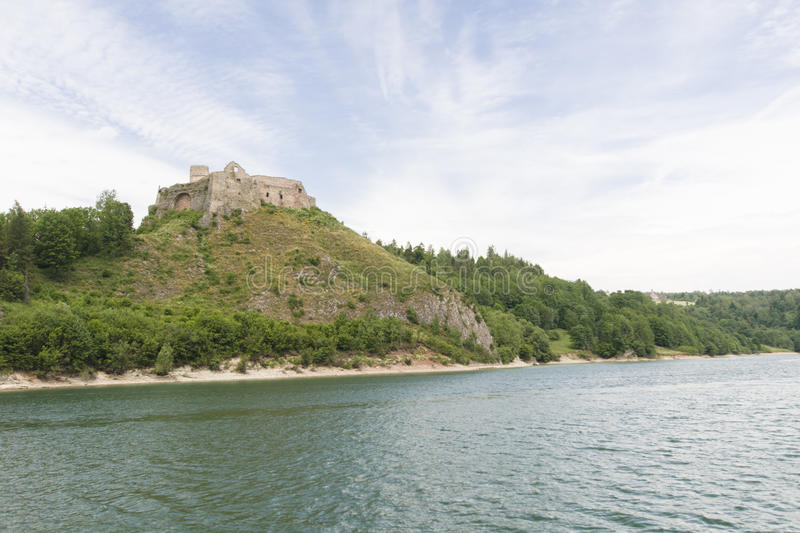 Castle ruins. Ruins of medieval castle on Dunajec River. Castle Czorsztyn royalty free stock photos