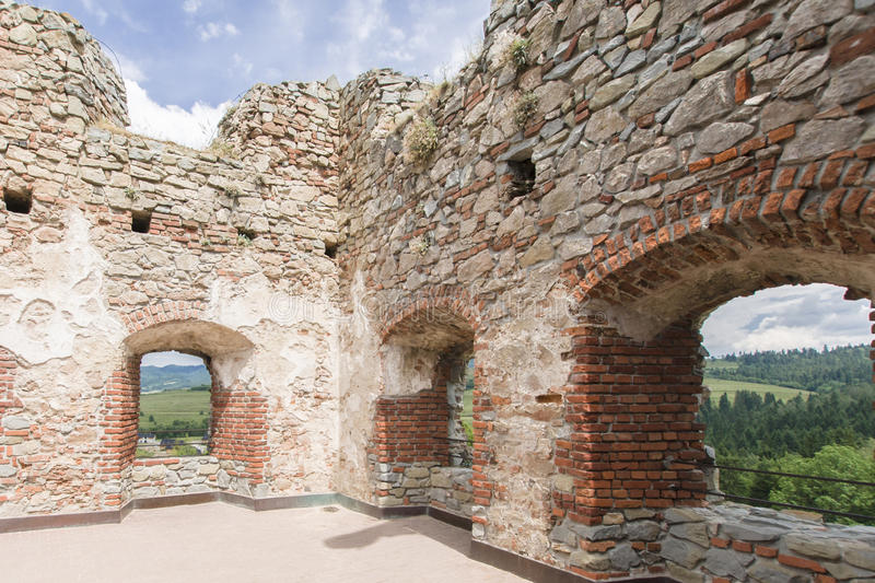 Castle ruins. Ruins of medieval castle on Dunajec River in Czorsztyn royalty free stock photos