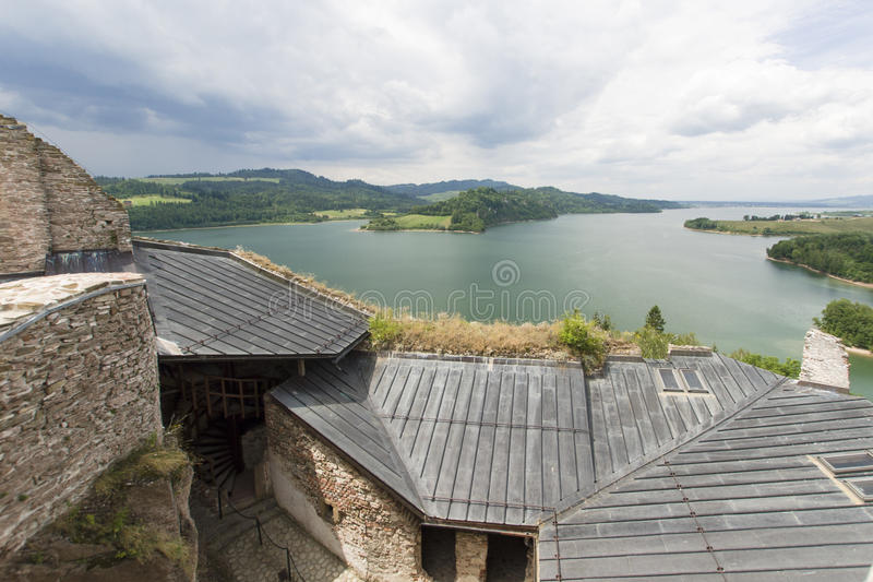 Castle ruins. Ruins of medieval castle on Dunajec River in Czorsztyn royalty free stock image