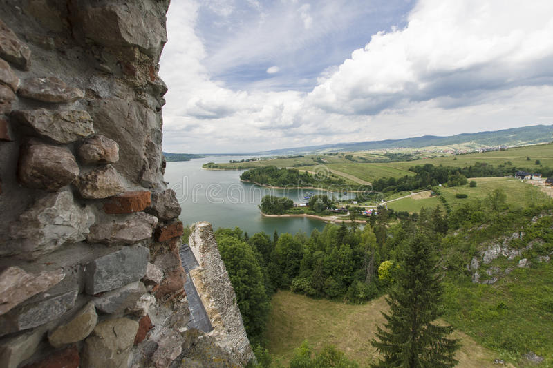 Castle ruins. Ruins of medieval castle on Dunajec River in Czorsztyn stock images