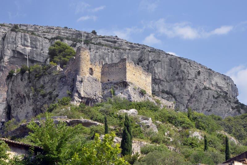 Castle of Fontaine de Vaucluse in France stock photos