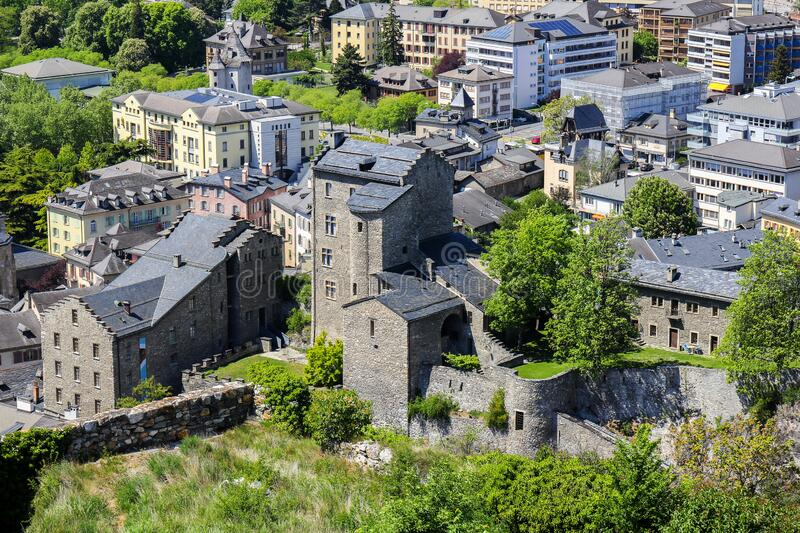 Castle ruins and Sion / Sitten city view from above stock photo