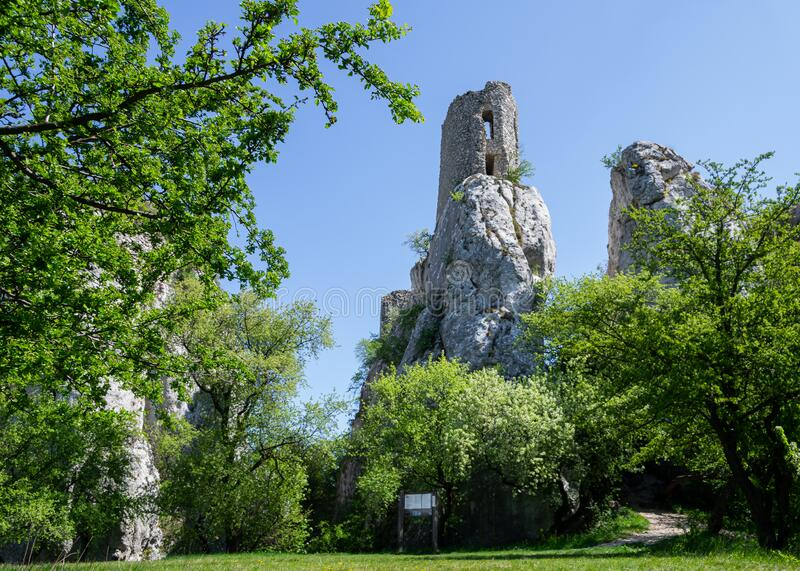 Castle Ruins of Sirotci hradek in Klentice, castle built on the high rock.  stock images