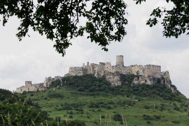 Castle ruins of Spissky castle in Slovakia on a hot sunny day royalty free stock photos