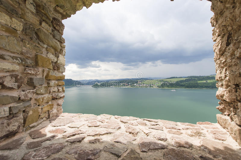 Castle ruins. View from the castle ruins on the Dunajec River, Poland stock photos