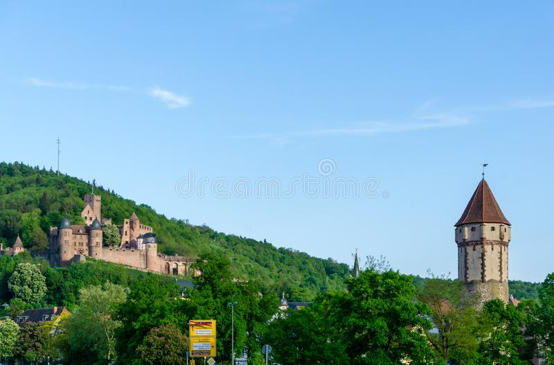Castle ruins Wertheim in Baden-Wurttemberg Germany at blue sky stock photos