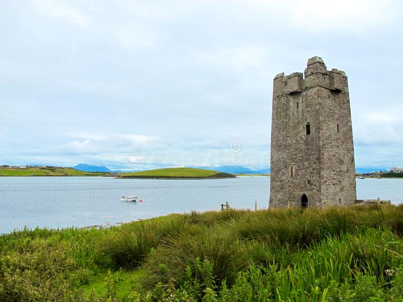 Kildavnet Castle, 15th-century Irish rectangular tower house. The castle is said to have been built by the O'Malley Clan in about 1429. However it is best royalty free stock image