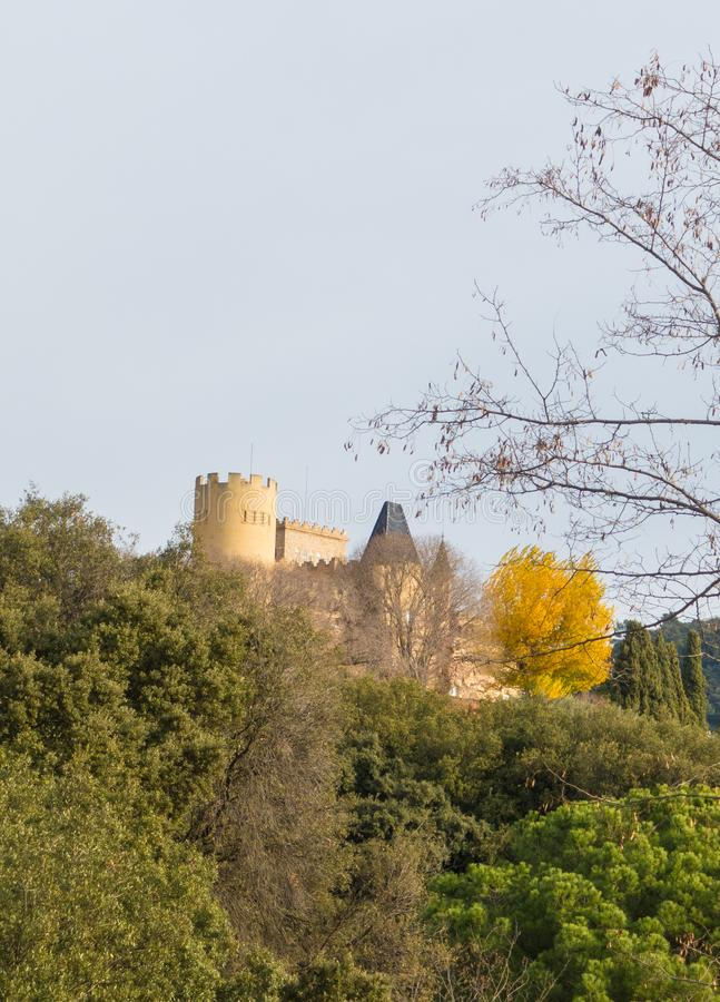 Castle of Samalus in historicism style. The Castle of Samalus in the village of Samalus in Northeastern Catalonia was formerly a farmers house called Casa Boria stock images