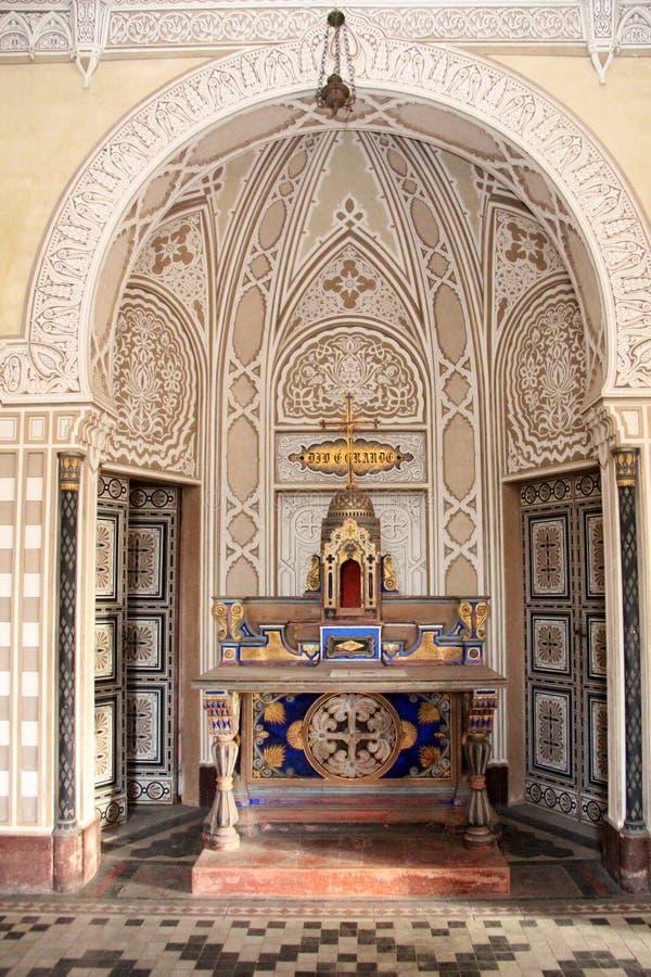 Castle Sammezzano, private chapel altar stock photos