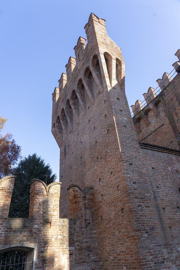 Castle of San Colombano al Lambro, Italy. San Colombano al Lambro, Milan, Lombardy, Italy: exterior of the medieval castle stock photo