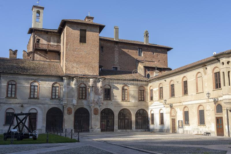 Castle of San Colombano al Lambro, Italy. San Colombano al Lambro, Milan, Lombardy, Italy: exterior of the medieval castle stock photography