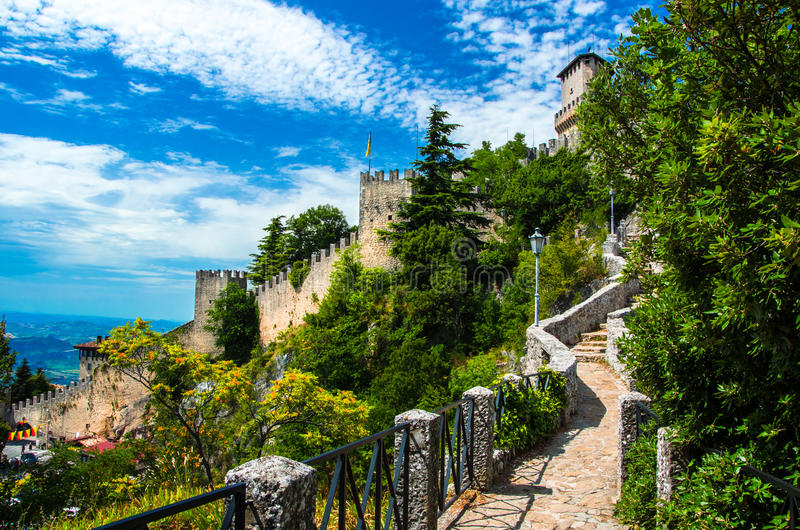 Castle of San Marino. In sunset colors royalty free stock image