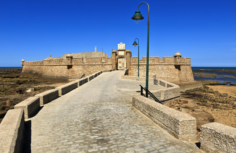 The Castle of San Sebastian, Cadiz, Spain. It's a fortress located on a small island separated from the main city. stock images