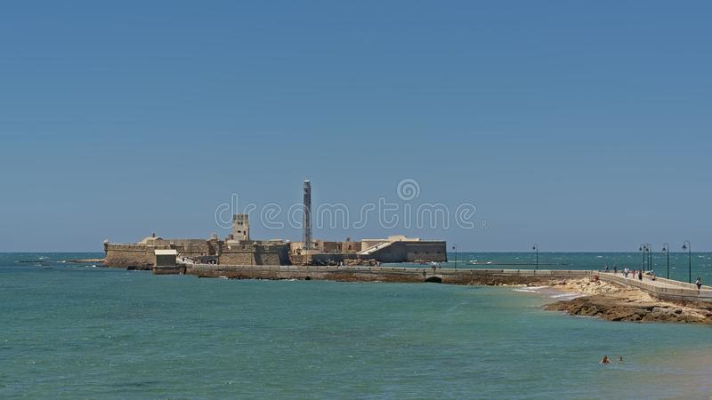 Castle of San Sebastian, sea fort on the coast of  in Cadiz royalty free stock image