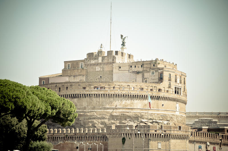 Castle Sant Angelo in Roma. Italy. Castle Sant Angelo with tree in Roma. Italy royalty free stock photography