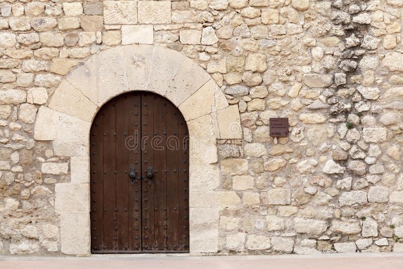 Castle of Sant Marti, detail door, historic monument in Penedes. Area, Sant Marti Sarroca, Spain royalty free stock images