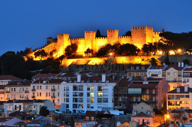 Castle of Sao Jorge, Lisbon night view. The Castle of Sao Jorge is a Moorish castle overlooking the city of Lisbon, the capital of Portugal, dates from medieval royalty free stock photography