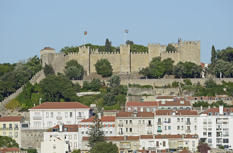 The castle Sao Jorge of Lisbon in Portugal. View of the historic castle Sao Jorge of Lisbon in Portugal stock photo