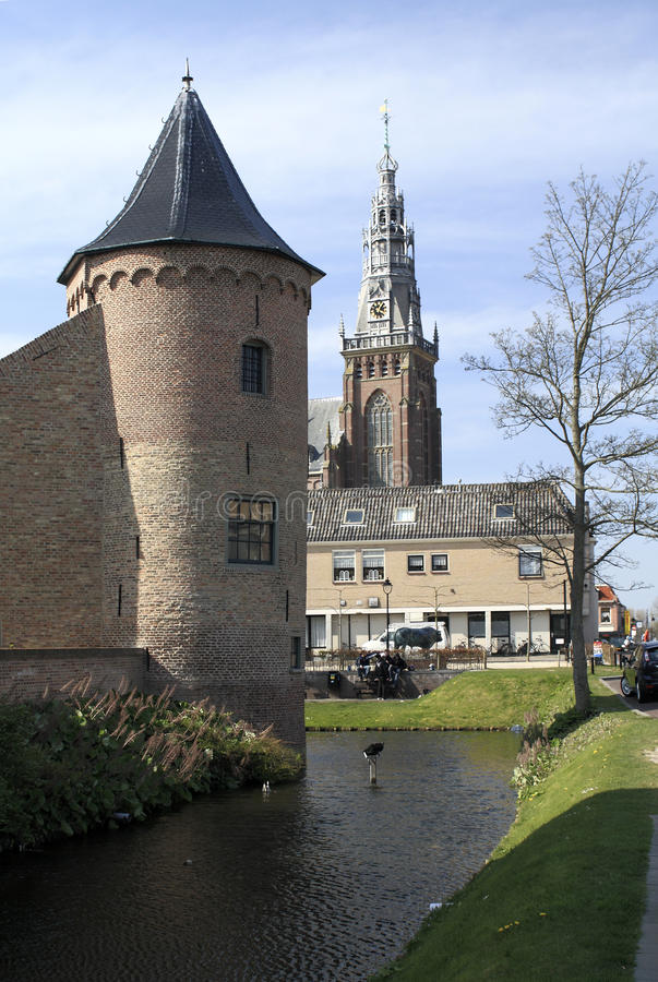 Castle of Schagen. Schagen is a small city and municipality in the northwestern Netherlands with the Roman Catholic St.Christopher Church and rebuilt castle in royalty free stock photo