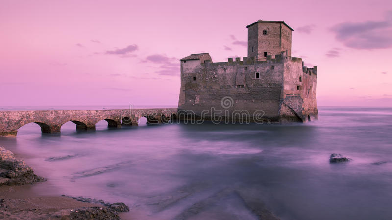 Castle on the sea stock photography