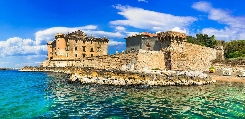 Castle in the sea - medieval impressive fortress in Ladispoli. I. Beautiful old Odescalchi Castle in the sea,Palo,Ladispoli,Lazio,Italy stock photo
