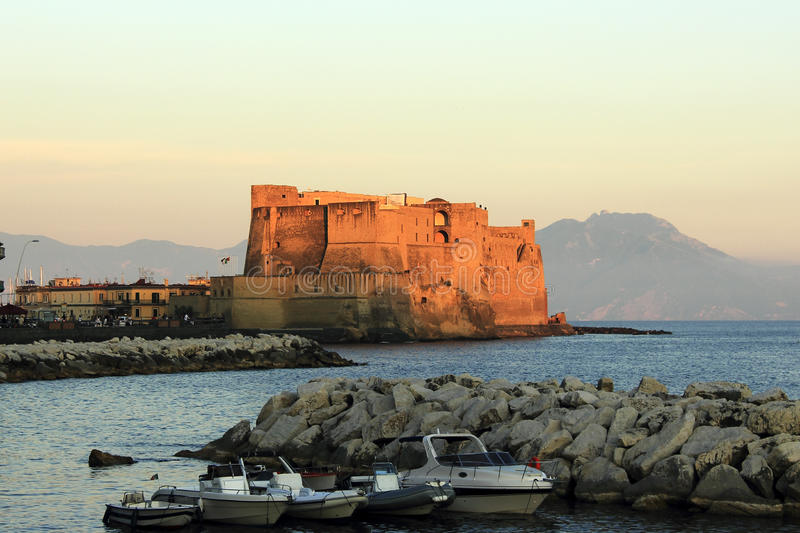 Castle on the sea in Naples stock image