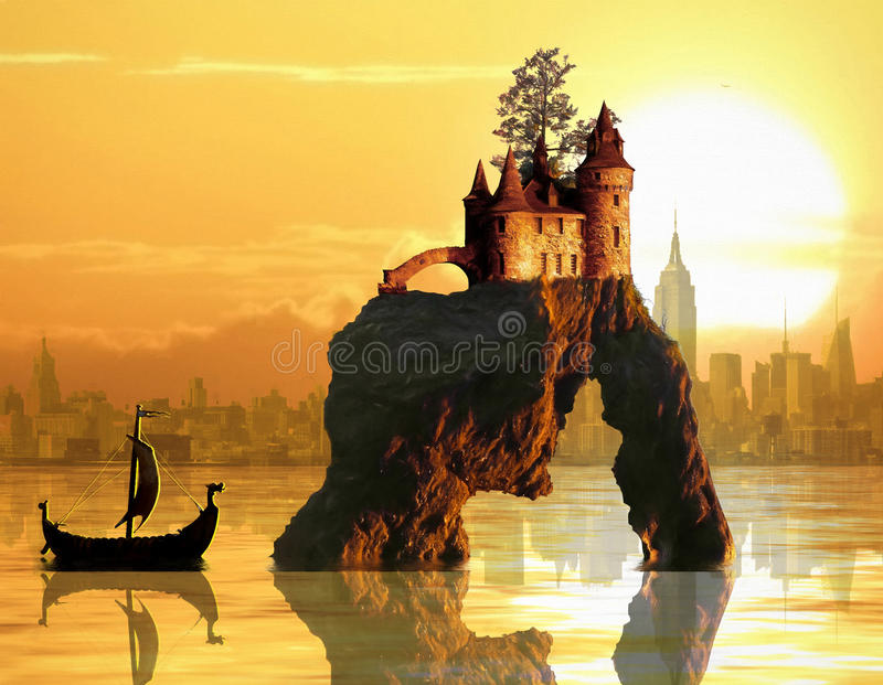 Castle on sea stack stock photography