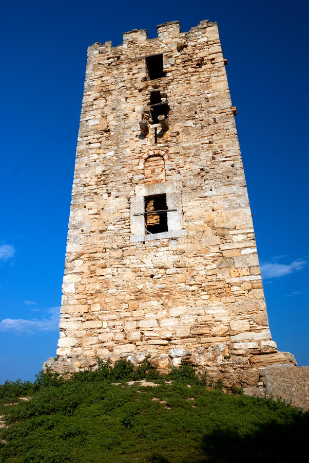 The castle in the seaside Chalkidiki royalty free stock images