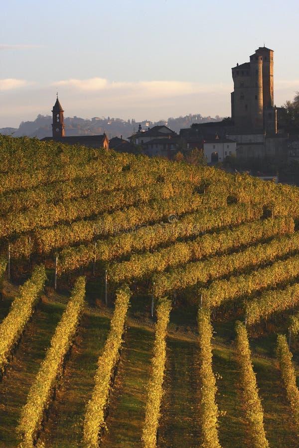 Castle of Serralunga d'Alba in the Langhe stock image