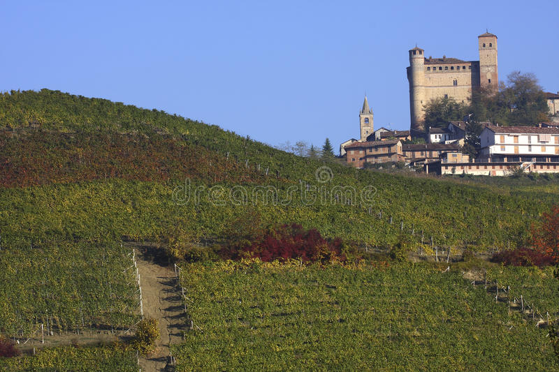 Castle of Serralunga d'Alba in the Langhe stock photography