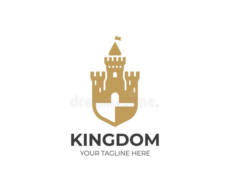 Castle and shield logo template. Fortress vector design. Tower illustration stock illustration