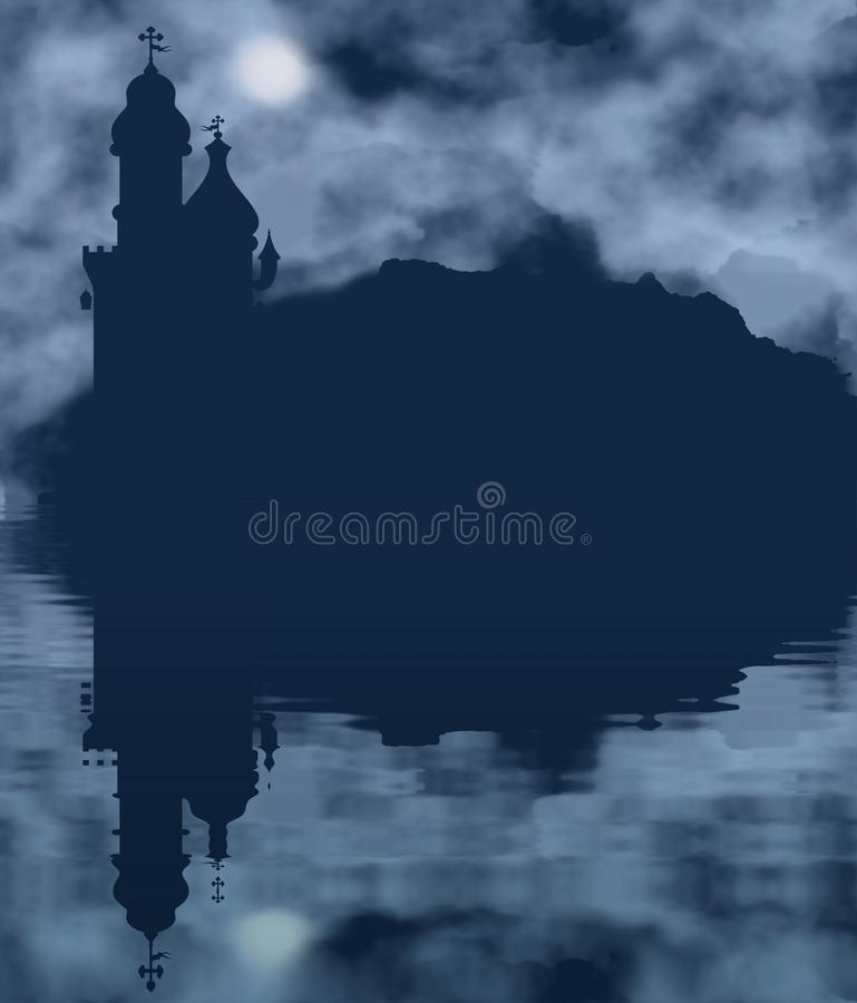 Free Castle Silhouette And Moon With Water Reflection Royalty Free Stock Photography - 102091477