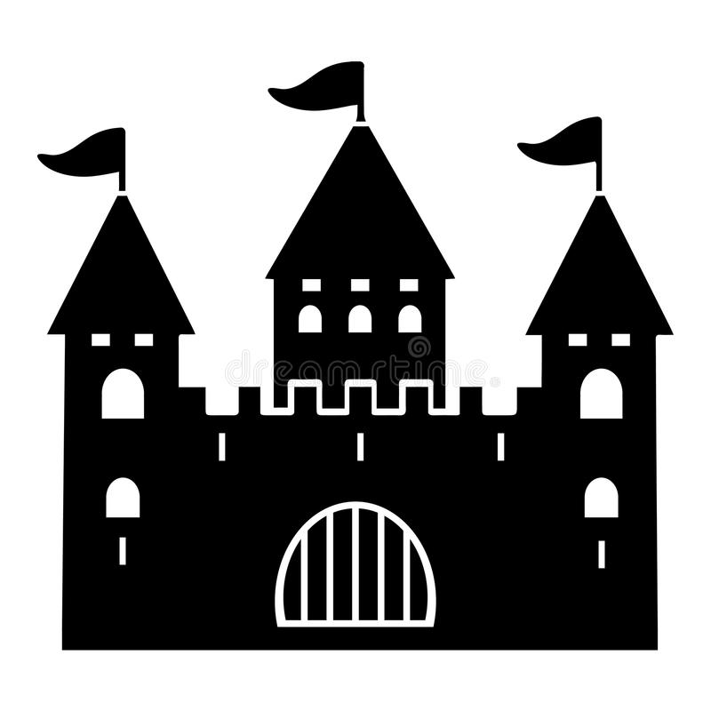 Castle silhouette, flat icon, logo, outline, contour, vector illustration, black and white drawing. Shape palace with three towers royalty free illustration