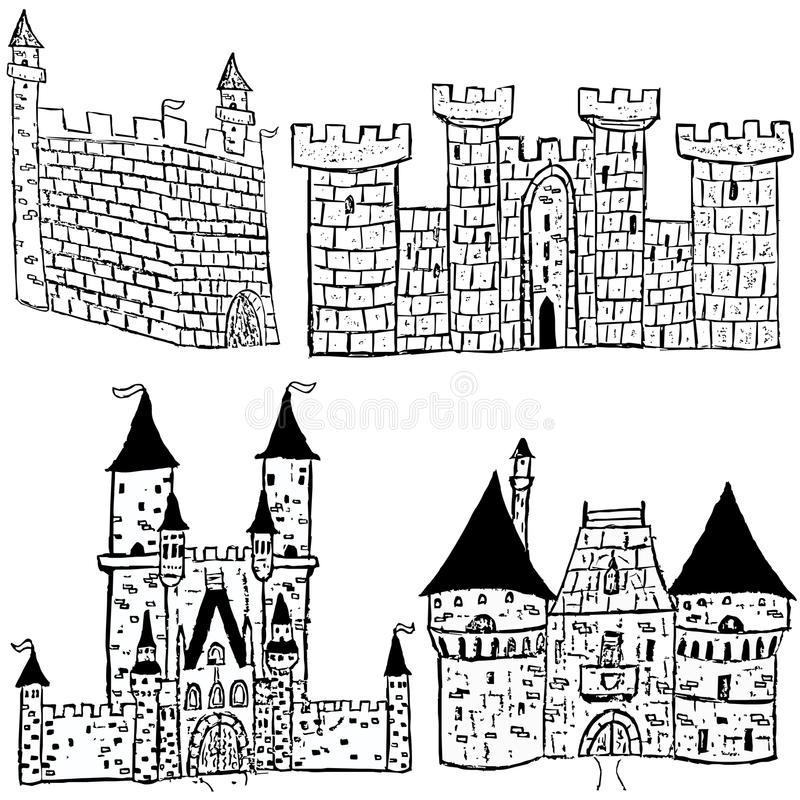 Download Castle sketches stock vector. Image of doodle, reliability - 27558098