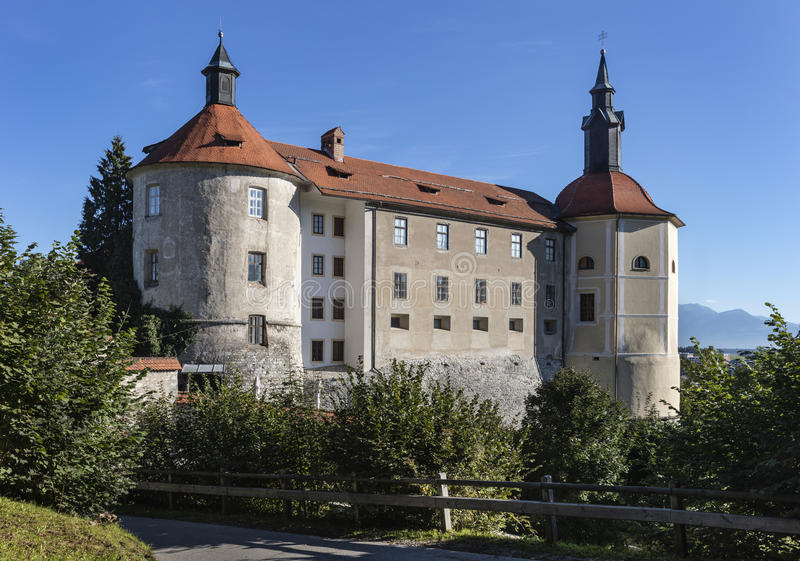 Castle in Skofja Loka. Mighty and well preserved medieval castle in Skofja Loka, Slovenia royalty free stock image