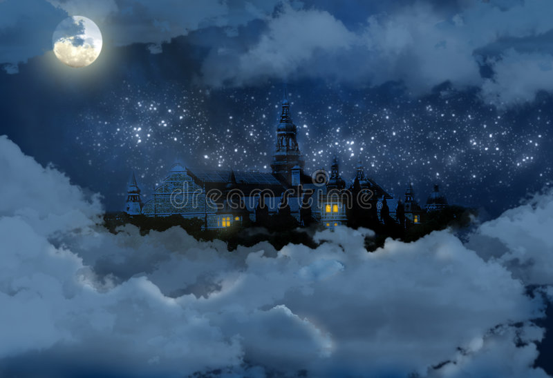 Castle in the sky at night stock illustration