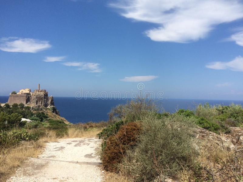 Castle and sky (island capraia stock photos