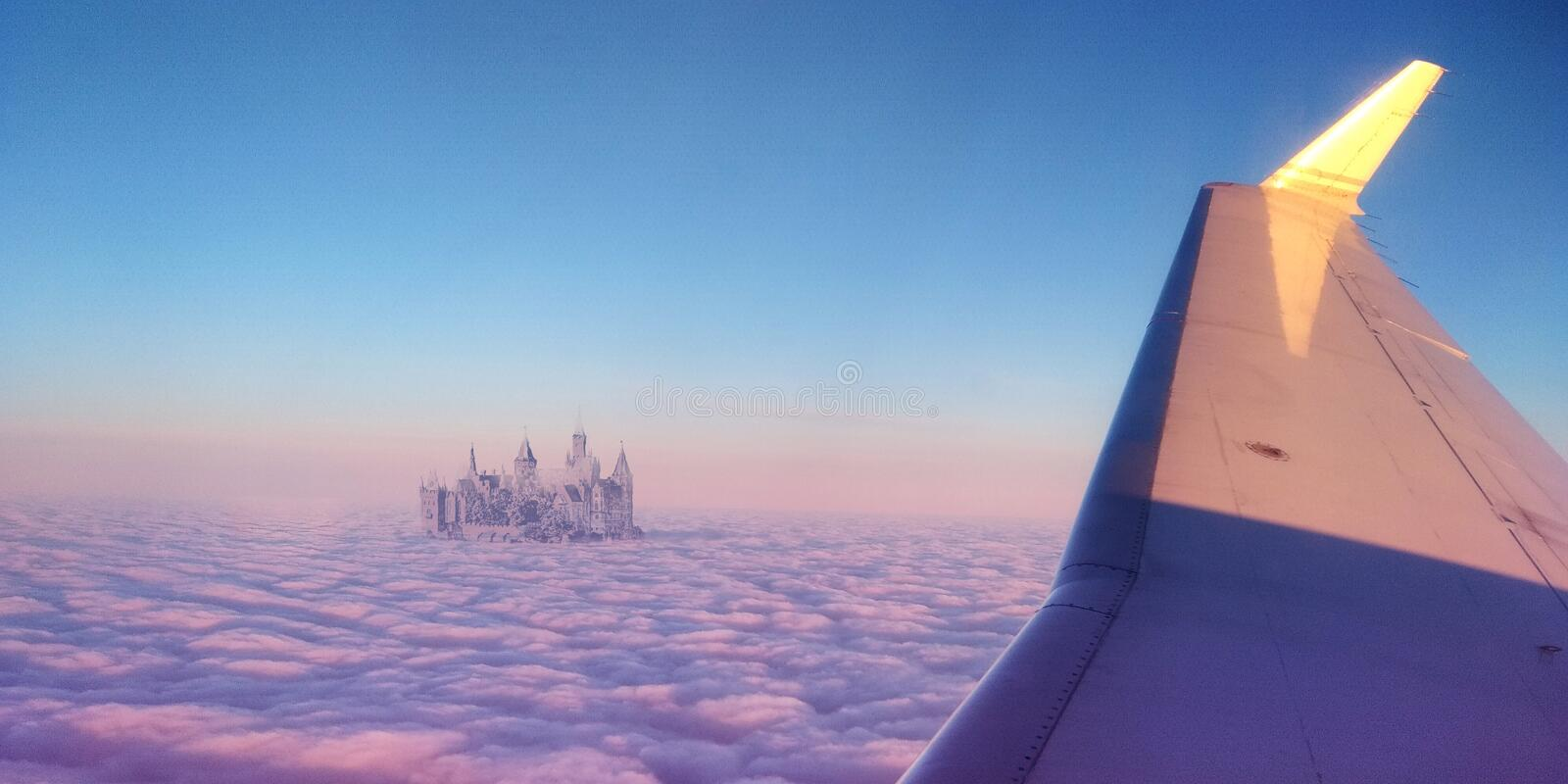 Castle in the sky. View from a plane window royalty free stock photo
